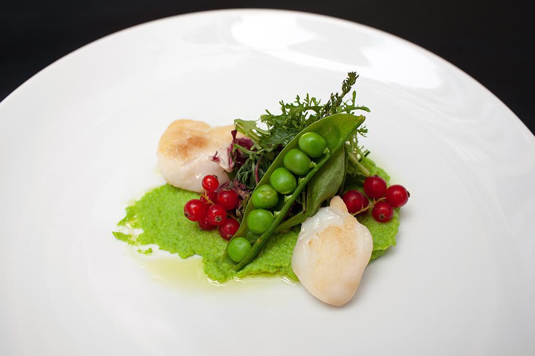 Seeteufel Bäckchen / Püree von grünen Erbsen